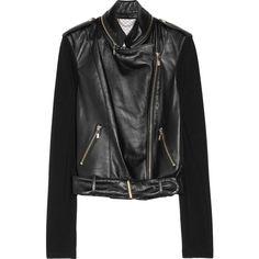 1020 by Nicole Ponte-sleeve leather biker jacket ($417) ❤ liked on Polyvore