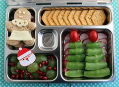 Holiday bento lunch - we don't bento but I like the idea of surprising the kids with this for lunch one day in December