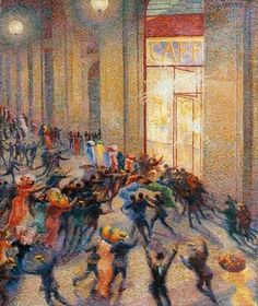 Umberto Boccioni. A scene of dancing couples. It could be a scene of them sitting in a french café without the atmosphere being changed.  Riot in the galeria,futurism, pointilism, 1909, Milan