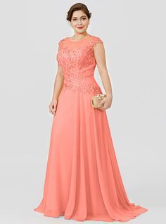 Mother Of Groom Dresses, Mothers Dresses, Mother Of The Bride, Evening Dresses Plus Size, Plus Size Maxi Dresses, Coral Maxi Dresses, Bridesmaid Dresses, Lace Dress Styles, Mom Dress