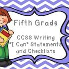 """The standards are set out to offer a focus for instruction each year and help ensure that students gain adequate exposure to a range of texts and tasks. These """"I Can"""" statements set out all of the standards children are expected to achieve in writing in Fifth Grade. Also included is a useful checklist so you or the child can tick off each standard as they are achieved.  The """"I Can"""" statements are written in child-friendly language and are easily accessible by children."""