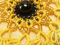Tatted Lace Sunflower Pendant MTO with glass beads by SnappyTatter