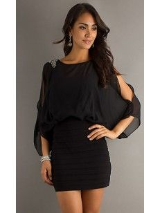 Ajustado Escote Alto Abalorio Corto/Mini Dress