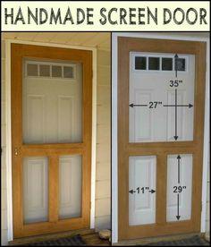 Diy Furniture Plans Farmhouse Style - New ideas Wood Screen Door, Wooden Screen, Screen Doors, Panel Doors, Front Doors, Handmade Home, Furniture Plans, Diy Furniture, Furniture Design