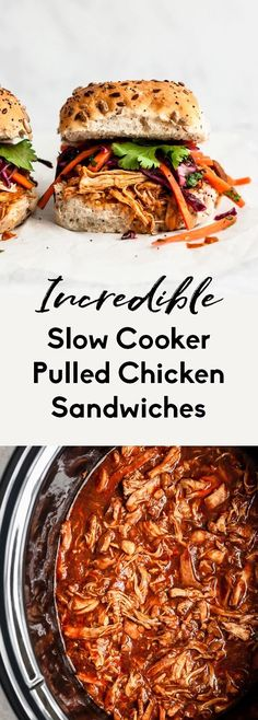 Easy pulled chicken sandwiches topped with a sweet and tangy cabbage slaw. This healthy slow cooker pulled chicken sandwich recipe is is perfect for BBQ's, potlucks, or a delicious weeknight dinner all year round! Try the healthy BBQ pulled chicken on a bun, in lettuce wraps, on salads and more. #slowcooker #crockpot #pulledchicken #chickensandwich #bbq #healthydinner Healthy Slow Cooker, Slow Cooker Recipes, Crockpot Recipes, Pie Recipes, Sweet Recipes, Vegan Recipes, Dinner Recipes, Dessert Recipes, Pulled Chicken Sandwiches
