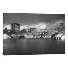 iCanvas Fountain lit up at dusk, Buckingham Fountain, Grant Park, Chicago, Illinois, USA Gallery Wrapped Canvas Art Print by Panoramic Images