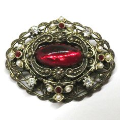 Red Rhinestone Victorian Brooch - Vintage, Antiqued Gold Tone, Red Rhinestones, Faux Pearl Pin by MyDellaWear on Etsy