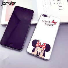 JAMULAR Cartoon Mickey Minnie Mouse Cases For iPhone X 7 8 Plus Makeup Mirror Case For i Phone 8 7 Plus Soft Silicone Cover Capa