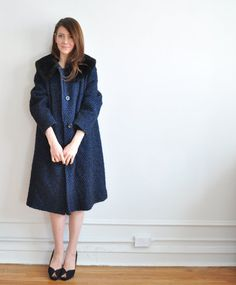 Vintage sapphire boucle swing coat: 10% of each sale goes to support the human rights campaign, children international, kiva, and global giving- check them out!