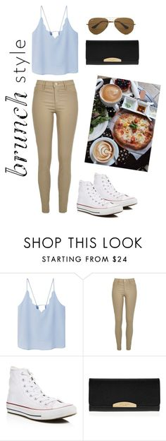 """""""Brunch at Urth Caffé"""" by stella-lam ❤ liked on Polyvore featuring MANGO, River Island, Converse, Henri Bendel, Ray-Ban and simple"""
