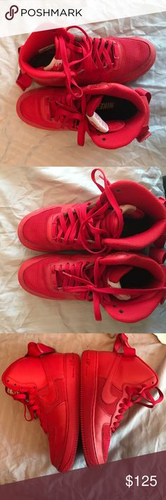 Nike ID red leather/mesh Nike ID red leather/mesh Air Force 1's size 6 in boys, will fit a girl as well that is a size 7-8 Nike Shoes Sneakers