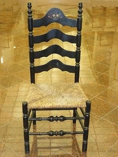 ANTIQUE LANCASHIRE CHESHIRE STYLE LADDER BACK CHAIR W STENCILED BACK U0026 RUSH  SEAT