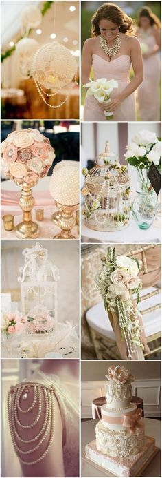 vintage wedding ideas- vintage pearl wedding decor ideas