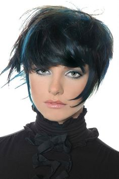 Spunky Black Crop with Blue Tints and Bangs