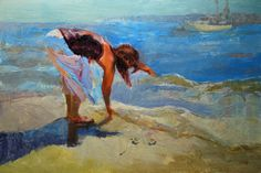 Woman on Beach : Looking for Sea Shells
