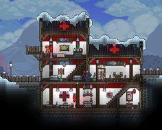 Terraria House Design, Terraria House Ideas, Terraria Tips, Terraria Castle, Minecraft, Snow Theme, Biomes, Anime Demon, Fireworks