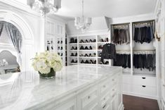 Closet with Island. Walk-in Closet. Closet with Island. Walk-in Closet. Walk In Closet Design, Closet Designs, Closet Vanity, Cabinet Closet, Bathroom Closet, Closet Island, Beautiful Closets, White Closet, Walking Closet