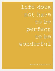 Life Does not need to be perfect to be wonderful. ~Annette Funicello