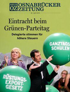 Grüne Geschlossenheit: Beim Parteitag einigen sich die Delegierten auf die Leitplanken des Wahlprogramms - das Coverthema der iPad-Ausgabe vom 29. April 2013. www.noz.de/digitalabo