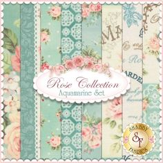 "Rose Collection 8 FQ Set - Aquamarine by Quilt Gate Fabrics: Rose Collection is by Quilt Gate Fabrics. This set contains 8 fat quarters, each measuring approximately 18"" x 21"". Expected Arrival Date Is February 2015"