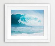 Ocean Wave Wall Art Print, Sea Photography, Turquoise Ocean Waves Print, Home Office Decor, Modern Wall Art, Digital Printable, Downloadable