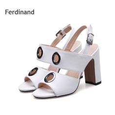 41.82$  Buy now - http://alijyo.shopchina.info/go.php?t=32808699352 - Women Hollow Sandals women high heel shoes Genuine leather Ladies shoes Summer Casual sandals White Beige Buckle Peep toe shoes  #buyonline