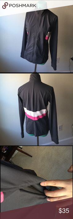 Victoria's Secret track jacket Victoria's Secret slate grey with cream and hot pink track jacket. Has side pockets that zip up and a working zip up on jacket Victoria's Secret Tops Sweatshirts & Hoodies