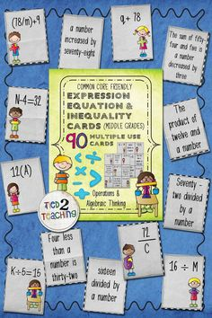 These expression, equation and inequality cards are a great way to hit those Operations & Algebraic Thinking Common Core State Standards! They are such a fun and engaging way to introduce students to basic algebraic concepts! The 90 cards are differentiated with everything from basic expressions to more complex equations and inequalities containing fractions and decimals. Great for centers, games, mini-lessons, whole group or small group instruction.