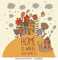 Home concept card. Vector background with houses, snail and flowers by smilewithjul, via ShutterStock