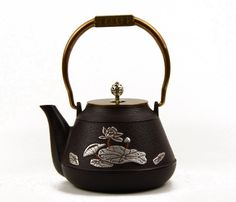 FREE SHIPPING, Cast Iron Teapot, 1.3L Big Capacity, Iron Bottle with Copper Handle Silver Knob, Lotus Kettle, Delicate Tea Set