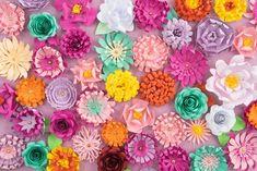 Decoración para eventos con flores de papel. Decoration for events with paper flowers.