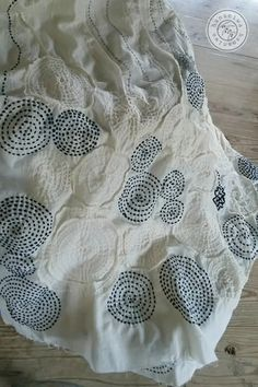 SASHIKO【Whirling pattern dress】 Tried a little bit scqueezed and pin-tacked in order to make a plain cloth three-dimentional.