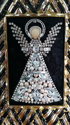 VINTAGE Framed COSTUME JEWELRY Rhinestone ANGEL Christmas Tree ART By Michelle!