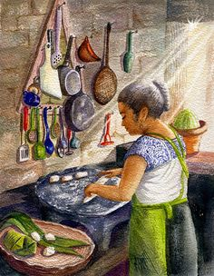 Mexican Culture Painting - Mika, The Tamale Maker by Marilyn Smith Mexican Artwork, Mexican Paintings, Paintings I Love, Mexican Folk Art, Tamales, Mexican Heritage, Mexico Art, Foto Art, Canvas Artwork