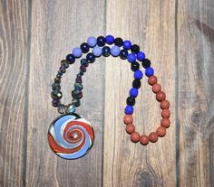 54 Beaded Mala Aromatherapy Jewelry Galaxy Mala Red Lava Beads Meditation Jewelry Lava Beads Purple Lava Beads Swirly Mala