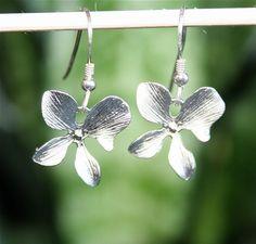 Orchid Earrings Silver Orchid Earrings Sterling by smilesophie, $14.50