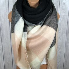 Blanket Scarf for Women, Zara Tartan Inspired, Gray, Soft Light Pink, Black, Women's Oversized Large Winter Scarves