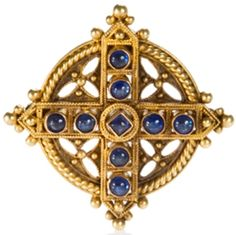 Castellani Sapphire and Gold Brooch