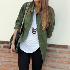 Military jacket Military like dark green top, silk, size medium. Not sheer. I roll up the sleeves and it looks cute, lightweight compared to most military jackets. First photo shows style / how I usually wear the top Urban Outfitters Tops Button Down Shirts