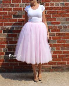 Clarisa Blush Pink Tulle Skirt – Tea Length