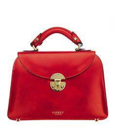 OSPREY LONDON - The Georgie, in hand-coloured cherry Italian Polished Calf leather  £525