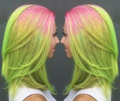 Weekly hair collection: 21 TOP hairstyles of the week! Green Hair Colors, Bright Hair Colors, Yellow Hair, Cool Hair Color, Top Hairstyles, Pretty Hairstyles, Blond, Hair Chalk, Hair Colorist