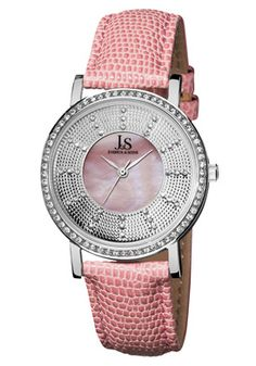 Joshua & Sons  Women's Mother of Pearl Dial Pink Leather