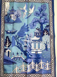 Blue Willow tea towel