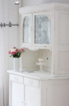 Bufett by Bleu et Rosé                                                Idea for my hutch:  install glass doors on the shelf then hand lace panels on the inside.