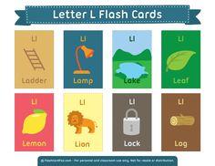 Free Printable Letter L Flash Cards Kindergarten Syllabus, Kindergarten Language Arts, Free Printable Flash Cards, Printable Letters, Learning English For Kids, Teaching English, English Fun, English Lessons, Letter L Words