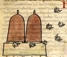 Bibliothèque Nationale de France, lat. 6838B, Folio 29v  Bees fly around a pair of typical medieval bee hives.