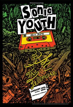 Original concert poster for Sonic Youth at The Fillmore in San Francisco. Art by Matt Leunig. Rock Posters, Band Posters, Festival Posters, Concert Posters, Concert Rock, Musik Illustration, Bd Art, We Will Rock You, Music Artwork