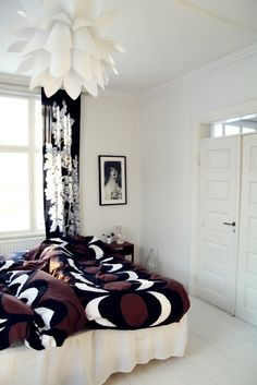 white room+white floors+marimekko = fun