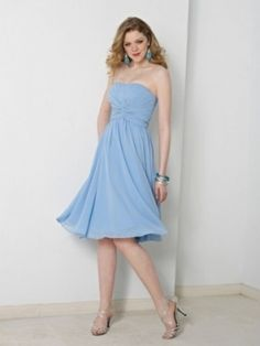 A-line Strapless Ruffles Sleeveless Knee-length Chiffon Dress